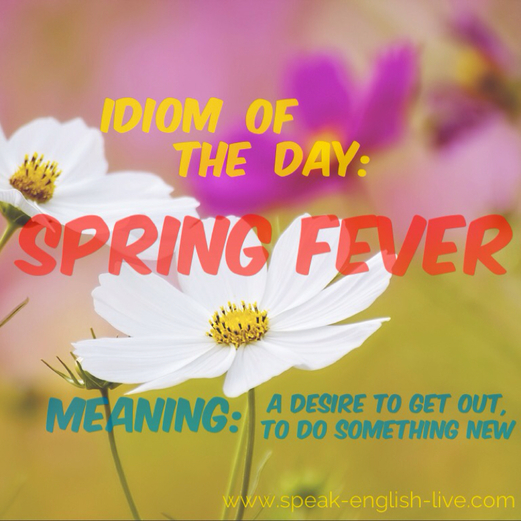 Idiom of the Day: Spring Fever. It's springtime! Do you have spring fever?? Click through to read more about this idiom. From Sabrina at Calm English.