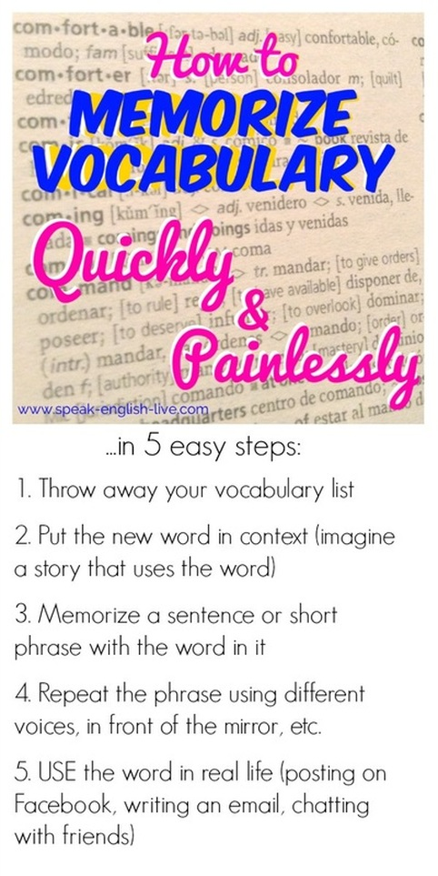 Memorize vocabulary quickly in 5 easyy steps! More study tips and English resources at www.speak-english-live.com/blog
