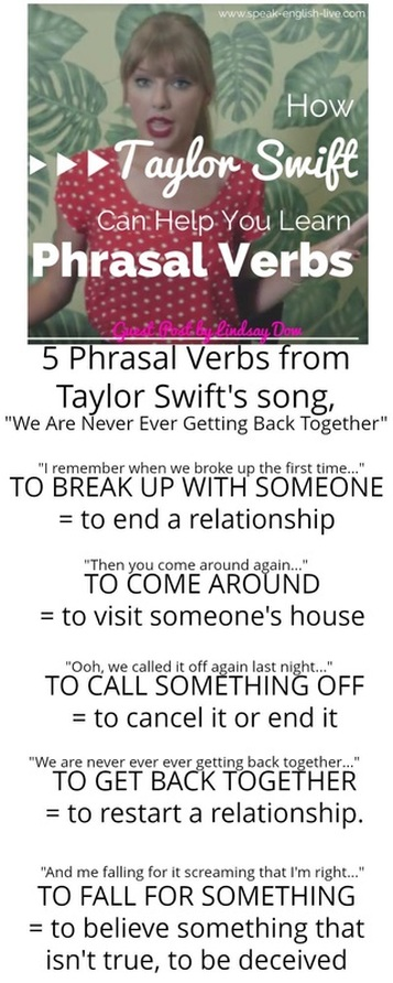 5 Phrasal Verbs from Taylor Swift's song,