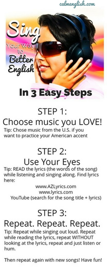 3 easy steps to improving your music by singing! More free English learning resources and a free American English pronunciation course here: www.calmenglish.com/join